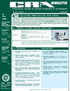 Self-Etch Primer, Dual-Cure Resin Cements, Erganom-X- August 2004 Volume 28 Issue 8 - 200408 - Dental Reports