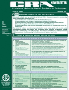 Fixed Prosthodontics- September 2005 Volume 29 Issue 9 - 200509 - Dental Reports