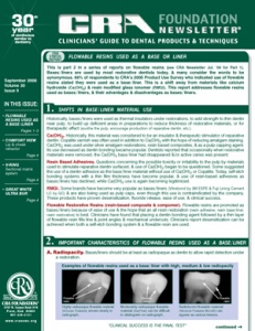 Flowable Resins, Lip & Cheek Retractor, Matrix System, Ultra Bur- September 2006 Volume 30 Issue 9 - 200609 - Dental Reports