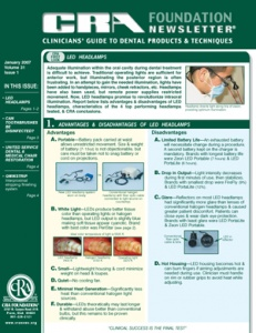 LED Headlamps, Disinfect Toothbrushes- January 2007 Volume 31 Issue 1 - 200701 - Dental Reports