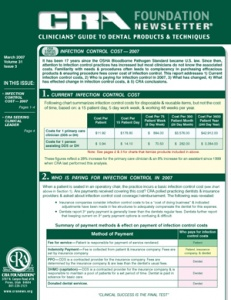 Infection Control Cost- March 2007 Volume 31 Issue 3 - 200703 - Dental Reports