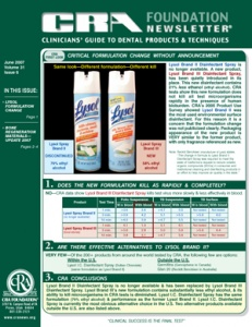 Lysol Formulation Change, Bone Regeneration Materials- June 2007 Volume 31 Issue 6 - 200706 - Dental Reports