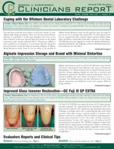 Offshore Dental Lab Challenge, Alginate Impression, GC Fuji IX GP Extra- April 2008 Volume 1 Issue 4 - 200804 - Dental Reports