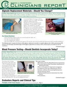 Alginate Replacement Materials, Blood Pressure Testing Should Dentists Incorpoate September 2008 Vol - 200809 - Dental Reports