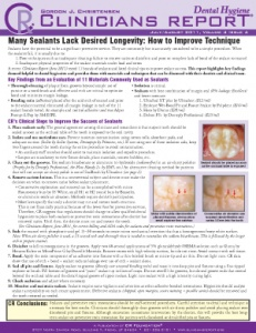 Sealant Longevity, Highly Rated Products- July/August 2011 Volume 4 Issue 4 - h201108 - Hygiene Reports
