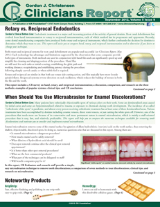 Rotary vs. Reciprocal Endodontics, Microabrasion for Enamel Discolorations – September 2012 Volume 5 - 201209 - Dental Reports