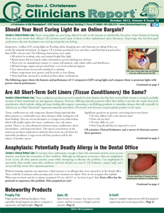 Should Your Next Curing Light Be an Online Bargain?, Are All Short-Term Soft Liners the Same?, Anaphylaxis – October 2013 Vol 6 Issue 10 - 201310 - Dental Reports