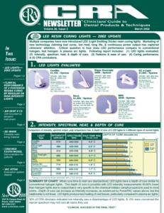 LED Resin Curing Lights- March 2002 Volume 26 Issue 3 - 200203 - Dental Reports