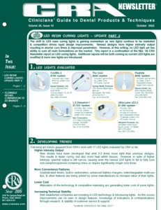 LED Resin Curing Lights, Flowable Resins- October 2002 Volume 26 Issue 10 - 200210 - Dental Reports