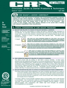 Core Buildup & Adhesive Compatibility- April 2003 Volume 27 Issue 4 - 200304 - Dental Reports