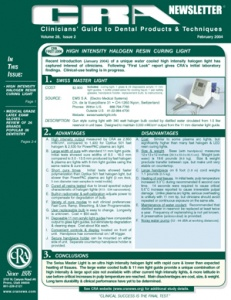 Halogen Resin Curing Light, Latex Gloves- February 2004 Volume 28 Issue 2 - 200402 - Dental Reports