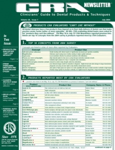 Products Evaluators Can't Live Without- July 2004 Volume 28 Issue 7 - 200407 - Dental Reports