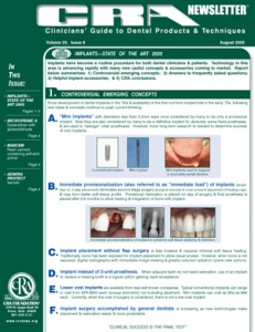 CRA Newsletter August 2005, Volume 29 Issue 8 - 200508 - Dental Reports