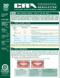 Upper Anterior Veneers- January 2006 Volume 30 Issue 1 - 200601 - Dental Reports
