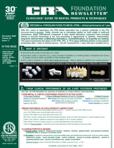 Zirconia vs. PFM, 3-Unit Posterior Prostheses- November 2006 Volume 30 Issue 11 - 200611 - Dental Reports