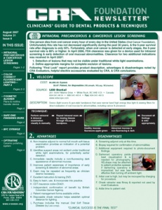 Precancerous & Cancerous Screening, Fluorescent Lighting- August 2007 Volume 31 Issue 8 - 200708 - Dental Reports