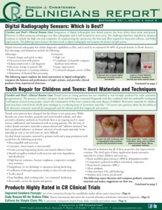 Digital Radiography Sensors, Tooth Repair- September 2011 Volume 4 Issue 9 - 201109 - Dental Reports