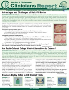 Bulk-Fill Resins, Tooth Colored Onlays- January 2012 Volume 5 Issue 1 - 201201 - Dental Reports