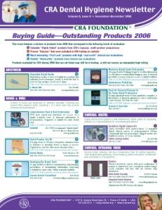 Buying Guide: CRA Dental Hygiene Newsletter November/December 2006, Volume 6 Issue 6 - h200612 - Hygiene Reports