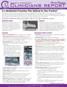 Needlestick Prevention, Highly Rated Products- March/April 2010 Volume 3 Issue 2 - h201004 - Hygiene Reports