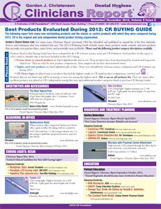 CR Buying Guide: Dental Hygiene Clinicians Report November/December 2012, Volume 5 Issue 6 - h201212 - Hygiene Reports