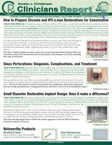 How to Prepare Zirconia & IPS e.max Restorations for Cementation, Small Diameter Restorative Implant  – April 2013 Vol 6 Issue 4 - 201304 - Dental Reports