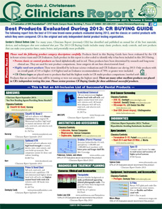 CR BUYING GUIDE: Best Products Evaluated During 2013 – December 2013 Volume 6 Issue 12 - 201312 - Dental Reports