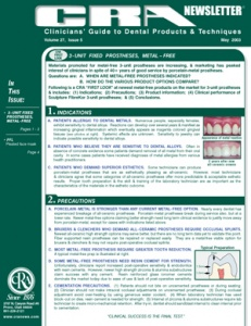 3-Unit Fixed Prostheses, Face Mask- May 2003 Volume 27 Issue 5 - 200305 - Dental Reports