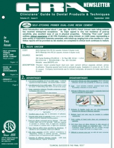 Primer, Resin Cement, Noise in Dental Environments- September 2003 Volume 27 Issue 9 - 200309 - Dental Reports